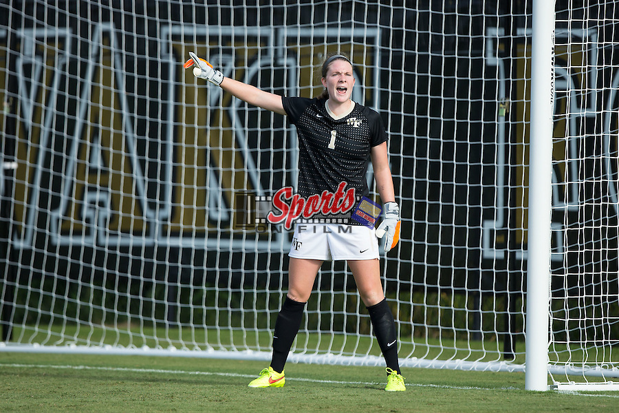 Lindsay Preston (1) of the Wake Forest Demon Deacons yells instructions to her defense during second half action against the Georgia Bulldogs at Spry Soccer Stadium on August 23, 2015 in Winston-Salem, North Carolina.  The Deacons defeated the Bulldogs 4-0.   (Brian Westerholt/Sports On Film)