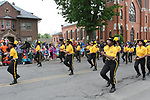 NAUGATUCK, CT - 26 MAY - 052818JW07.jpg --  The Berkley Knights Drill Team and Drum Corps march in the Naugatuck Memorial Day Parade Monday morning. Jonathan Wilcox Republican-American