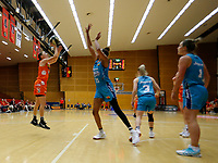 29th November 2019; Bendat Basketball Centre, Perth, Western Australia, Australia; Womens National Basketball League Australia, Perth Lynx versus Southside Flyers; Katie Ebzery of the Perth Lynx has a jump shot over Mercedes Russell of the Southside Flyers - Editorial Use