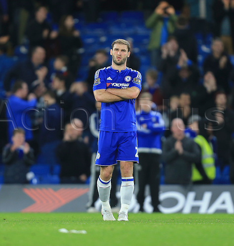 19.12.2015. Stamford Bridge, London, England. Barclays Premier League. Chelsea versus Sunderland. Despite his side winning Chelsea's Branislav Ivanović looks less than happy at the final whistle.