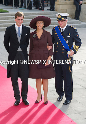 """PRINCE LAURENT AND PRINCESS CLAIRE OF BELGIAN.Wedding of HRH the Hereditary Grand Duke and Countess Stéphanie de Lannoy.Religious Ceremony at Cathedral of Our lady of Luxembourg, Luxembourg_20-10-2012.Mandatory credit photo: ©Dias/NEWSPIX INTERNATIONAL..(Failure to credit will incur a surcharge of 100% of reproduction fees)..                **ALL FEES PAYABLE TO: """"NEWSPIX INTERNATIONAL""""**..IMMEDIATE CONFIRMATION OF USAGE REQUIRED:.Newspix International, 31 Chinnery Hill, Bishop's Stortford, ENGLAND CM23 3PS.Tel:+441279 324672  ; Fax: +441279656877.Mobile:  07775681153.e-mail: info@newspixinternational.co.uk"""