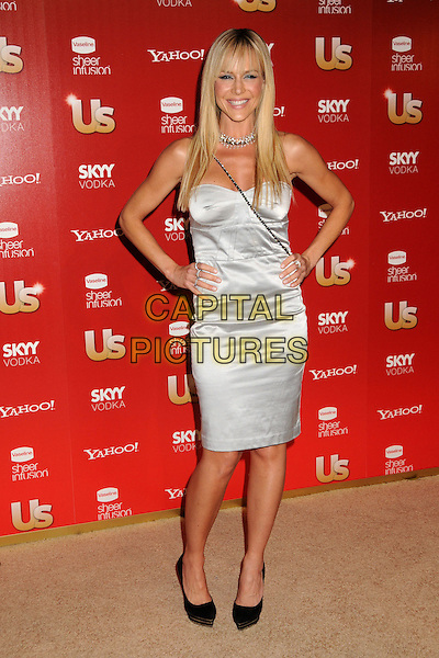 JULIE BENZ.US Weekly's Hot Hollywood Party 2009 held at Voyeur, West Hollywood, California, USA..November 18th, 2009.full length silver strapless dress silk satin hands on hips black shoes .CAP/ADM/BP.©Byron Purvis/AdMedia/Capital Pictures.