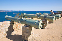 France, FRA, Département Var, Saint-Tropez, 2008Oct04: The historic cannons of the citadel of Saint-Tropez are situated above the bay of Saint-Tropez at the Cote d'Azur / Provence.