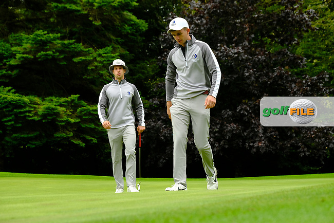 Alex Gleeson & Sean Flanagan (Connacht) during final day foursomes at the Interprovincial Championship 2018, Athenry golf club, Galway, Ireland. 31/08/2018.<br /> Picture Fran Caffrey / Golffile.ie<br /> <br /> All photo usage must carry mandatory copyright credit (© Golffile | Fran Caffrey)