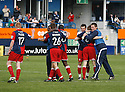 York City players celebrate victory after the Blue Square Premier play-off semi-final 2nd leg  match between Luton Town and York City at Kenilworth Road, Luton on Monday 3rd May, 2010..© Kevin Coleman 2010 ..