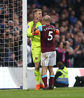 West Ham United's Pablo Zabaleta congratulates Joe Hart on a second half save<br /> <br /> Photographer Rob Newell/CameraSport<br /> <br /> The Premier League - Chelsea v West Ham United - Sunday 8th April 2018 - Stamford Bridge - London<br /> <br /> World Copyright &copy; 2018 CameraSport. All rights reserved. 43 Linden Ave. Countesthorpe. Leicester. England. LE8 5PG - Tel: +44 (0) 116 277 4147 - admin@camerasport.com - www.camerasport.com