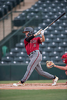 AZL Diamondbacks second baseman Blaze Alexander (3) follows through on his swing during the completion of a suspended Arizona League game against the AZL Angels at Tempe Diablo Stadium on July 16, 2018 in Tempe, Arizona. The game was a continuation of the July 11, 2018 contest that was suspended by rain in the middle of the eighth inning. The AZL Diamondbacks defeated the AZL Angels 12-8. (Zachary Lucy/Four Seam Images)