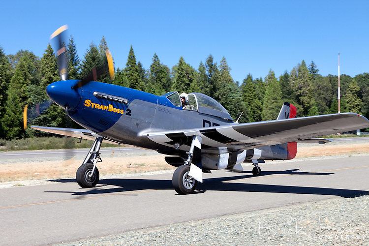 P-51D Mustang Strawboss 2 is taxied at the Nevada County Airport after a flight.