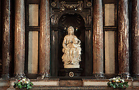 BRUGES, BELGIUM - FEBRUARY 07 : A general view of the Michelangelo sculpture of the Madonna and Child in the church of Our Lady on February 07, 2009 in Bruges, Western Flanders, Belgium. The church of Notre Dame was built in the 13th and 14th centuries. (Photo by Manuel Cohen)
