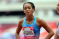 Katarina Johnson-Thompson of Great Britain competes in the womenís 100 metres hurdles during the Muller Anniversary Games at The London Stadium on 9th July 2017