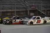 #18: Noah Gragson, Kyle Busch Motorsports, Toyota Tundra Safelite AutoGlass, #38: Ross Chastain, Niece Motorsports, Chevrolet Silverado Niece Equipment