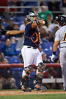 Binghamton Mets catcher Xorge Carrillo (44) points to the first base umpire for the call during a game against the Trenton Thunder on August 8, 2015 at NYSEG Stadium in Binghamton, New York.  Trenton defeated Binghamton 4-2.  (Mike Janes/Four Seam Images)