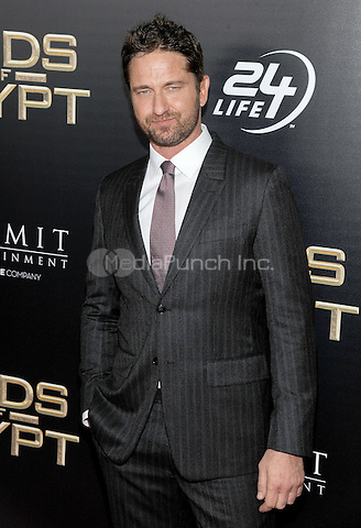 NEW YORK, NY - FEBRUARY 24: Gerard Butler attends the 'Gods Of Egypt' New York premiere at AMC Loews Lincoln Square 13 on February 24, 2016 in New York City.  Credit: John Palmer/MediaPunch