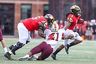 College Park, MD - September 22, 2018:  Maryland Terrapins running back Anthony McFarland (5) stiff arms Minnesota Golden Gophers linebacker Thomas Barber (41) during the game between Minnesota and Maryland at  Capital One Field at Maryland Stadium in College Park, MD.  (Photo by Elliott Brown/Media Images International)