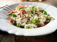 Classic risotto with fresh peas, bacon and mint.