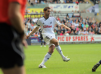 Pictured: Angel Rangel of Swansea City in action. Saturday 17 September 2011<br /> Re: Premiership football Swansea City FC v West Bromwich Albion at the Liberty Stadium, south Wales.