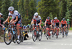August 11, 2017 - Breckenridge, Colorado, U.S. -   Team Axeon Hagens Berman riders lead the main peloton near the top of the difficult Moonstone climb during the second stage of the inaugural Colorado Classic cycling race, Breckenridge, Colorado.