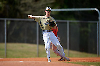 Mount St. Mary's Mountaineers third baseman Bryant Shives (19) throws to first base during a game against the Ball State Cardinals on March 9, 2019 at North Charlotte Regional Park in Port Charlotte, Florida.  Ball State defeated Mount St. Mary's 12-9.  (Mike Janes/Four Seam Images)