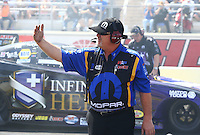 Apr 11, 2015; Las Vegas, NV, USA; Dickie Venables crew chief for NHRA funny car driver Matt Hagan during qualifying for the Summitracing.com Nationals at The Strip at Las Vegas Motor Speedway. Mandatory Credit: Mark J. Rebilas-