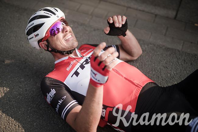 John DEGENKOLB (DEU/Trek-Segafredo) finishes a strong 2nd and crashes to the ground (from the effort) after finishing <br /> <br /> 81st Gent-Wevelgem 'in Flanders Fields' 2019<br /> One day race (1.UWT) from Deinze to Wevelgem (BEL/251km)<br /> <br /> ©kramon