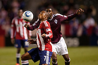 CD Chivas USA froward Tristan Bowen (7) with a trap and moves past Rapids defender Anthony Wallace (6). The Colorado Rapids defeated CD Chivas USA 1-0 at Home Depot Center stadium in Carson, California on Saturday March 26, 2011...