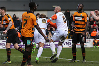 Cameron McGeehan of Luton Town (8) celebrates scoring his team's first goal against Barnet to make it 1-1 during the Sky Bet League 2 match between Barnet and Luton Town at The Hive, London, England on 28 March 2016. Photo by David Horn.
