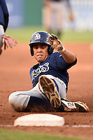 Desmond Lindsay (3) of Out-of-Door Academy in Bradenton, Florida playing for the Tampa Bay Rays scout team during the East Coast Pro Showcase on August 1, 2014 at NBT Bank Stadium in Syracuse, New York.  (Mike Janes/Four Seam Images)