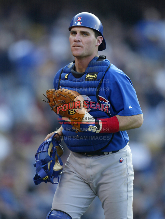 Todd Hundley of the Chicago Cubs during a 2002 MLB season game against the Los Angeles Dodgers at Dodger Stadium, in Los Angeles, California. (Larry Goren/Four Seam Images)