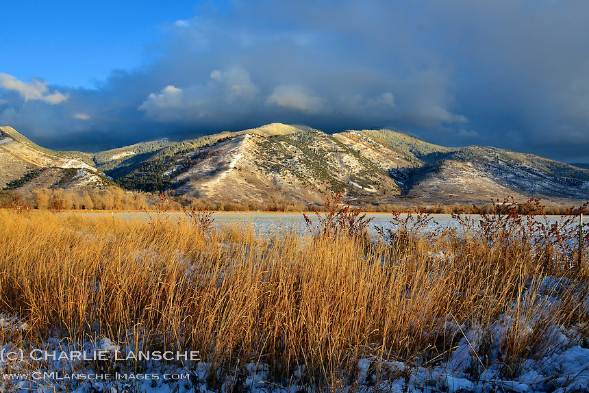 A clearing fall snowstorm over Hoyt Peak in the Uinta Mountains near Oakley, Utah.