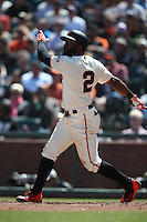 SAN FRANCISCO, CA - APRIL 27:  Denard Span #2 of the San Francisco Giants bats against the San Diego Padres during the game at AT&T Park on Wednesday, April 27, 2016 in San Francisco, California. Photo by Brad Mangin