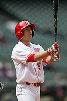 Nebraska Cornhuskers shortstop Steven Reveles (5) at the plate during the NCAA baseball game against the Hawaii Rainbow Warriors on March 7, 2015 at the Houston College Classic held at Minute Maid Park in Houston, Texas. Nebraska defeated Hawaii 4-3. (Andrew Woolley/Four Seam Images)