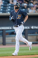Toledo Mud Hens outfielder JaCoby Jones (21) trots home after blasting a first inning home run against the Louisville Bats during the International League baseball game on May 17, 2017 at Fifth Third Field in Toledo, Ohio. Toledo defeated Louisville 16-2. (Andrew Woolley/Four Seam Images)