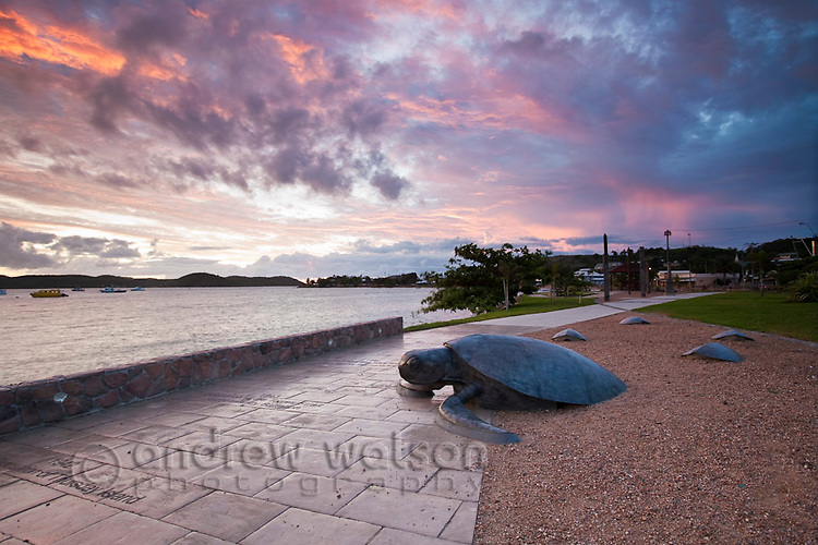 Turtle sculpture on the Victoria Parade foreshore.  Thursday Island, Torres Strait Islands, Queensland, Australia