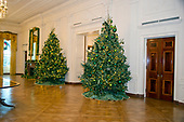 "The 2017 White House Christmas decorations, with the theme ""Time-Honored Traditions,"" which were personally selected by first lady Melania Trump, are previewed for the press in Washington, DC on Monday, November 27, 2017.  Pictured are Christmas trees in the East Room.<br /> Credit: Ron Sachs / CNP"