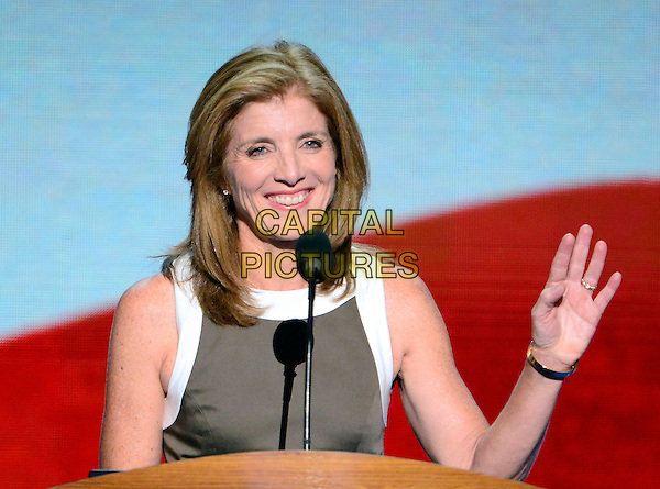 Caroline Kennedy.at the 2012 Democratic National Convention in Charlotte, North Carolina, USA, September 6th, 2012.  .half length speaking podium microphone white trim brown dress hand waving .CAP/ADM/CNP/RS.©Ron Sachs/CNP/ADM/Capital Pictures.