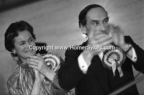 """""""Thorpe works for us."""" Jeremy Thorpe with wife Marion at his addoption meeting for his mid Devon constituency 1979. He lost  his liberal parliamentary seat. England."""