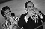 """Thorpe works for us."" Jeremy Thorpe with wife Marion at his addoption meeting for his mid Devon constituency 1979. He lost  his liberal parliamentary seat. England."