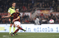 Calcio, Serie A: Roma vs Inter. Roma, stadio Olimpico, 19 marzo 2016.<br /> Roma&rsquo;s Miralem Pjanic kicks a free kick during the Italian Serie A football match between Roma and FC Inter at Rome's Olympic stadium, 19 March 2016. The game ended 1-1.<br /> UPDATE IMAGES PRESS/Isabella Bonotto