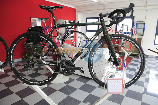 The Fire Gravel bike model in the showroom at the Tommasini factory based in Grosseto, Tuscany, Italy 6th March 2017.<br /> Picture: Eoin Clarke | Newsfile<br /> <br /> <br /> All photos usage must carry mandatory copyright credit (© Newsfile | Eoin Clarke)