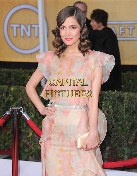 Rose Byrne (wearing Valentino).Arrivals at the 19th Annual Screen Actors Guild Awards at the Shrine Auditorium in Los Angeles, California, USA..27th January 2013.SAG SAGs half length dress pink beige ruffle clutch bag hand on hip.CAP/DVS.©DVS/Capital Pictures.