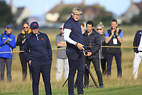 Thomas Sloman (GB&I) and Thomas Plumb (GB&I) on the 5th during Day 2 Foursomes of the Walker Cup, Royal Liverpool Golf CLub, Hoylake, Cheshire, England. 08/09/2019.<br /> Picture Thos Caffrey / Golffile.ie<br /> <br /> All photo usage must carry mandatory copyright credit (© Golffile | Thos Caffrey)
