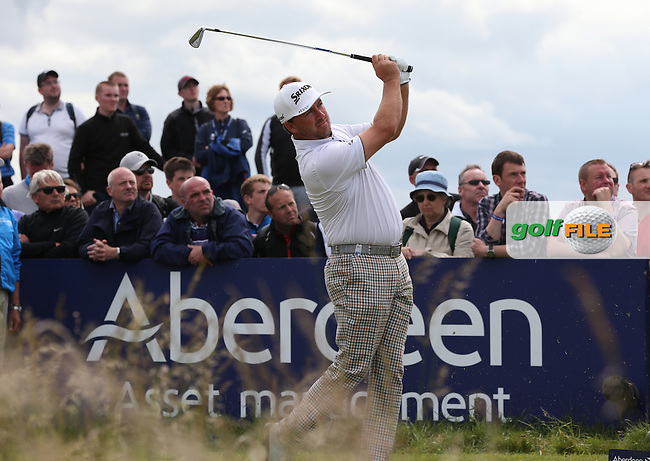 Graeme McDowell (NIR) plays from the 3rd during Round Three of the 2015 Aberdeen Asset Management Scottish Open, played at Gullane Golf Club, Gullane, East Lothian, Scotland. /11/07/2015/. Picture: Golffile | David Lloyd<br /> <br /> All photos usage must carry mandatory copyright credit (&copy; Golffile | David Lloyd)