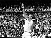 June 1971. Wimbledon, London England.  Rod Laver of Australia plays in the quaterfinal as number 1 seed, at Wimbledon in June 1971.