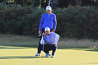 Andy Ogletree (USA) and John Augenstein (USA) on the 2nd green during Day 2 Foursomes of the Walker Cup, Royal Liverpool Golf CLub, Hoylake, Cheshire, England. 08/09/2019.<br /> Picture Thos Caffrey / Golffile.ie<br /> <br /> All photo usage must carry mandatory copyright credit (© Golffile | Thos Caffrey)
