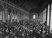 Interior of the Palace des Glaces during the signing of the Peace Terms.  Versailles, France.  June 28, 1919.  Lt. M. S. Lentz (Army)<br /> NARA FILE #:  111-SC-159296<br /> WAR & CONFLICT BOOK #:  724