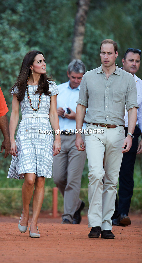 &quot;NO UK USAGE UNTIL 20th May 2014(28 Days)&quot;<br /> <br /> 22.04.2014; Uluru: KATE AND PRINCE WILLIAM <br /> pose in front of Uluru, the sacred place of the Aborgines.<br /> Mandatory Photo Credit: &copy;DIASIMAGES<br /> <br /> <br /> IMMEDIATE CONFIRMATION OF USAGE REQUIRED:<br /> DiasImages, 31 Chinnery Hill, Bishop's Stortford, ENGLAND CM23 3PS<br /> Tel:+441279 324672  ; Fax: +441279656877<br /> Mobile:  0777568 1153