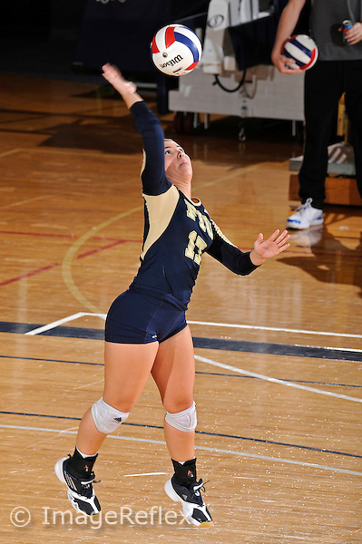 11 September 2011:  FIU defensive specialist/libero Carolyn Fouts (17) serves in the third set as the FIU Golden Panthers defeated the Florida A&M University Rattlers, 3-0 (25-10, 25-23, 26-24), at U.S Century Bank Arena in Miami, Florida.