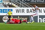 05.10.2019, Benteler Arena, Paderborn, GER, 1.FBL, SC Paderborn 07 vs 1. FSV Mainz 05<br /> <br /> DFL REGULATIONS PROHIBIT ANY USE OF PHOTOGRAPHS AS IMAGE SEQUENCES AND/OR QUASI-VIDEO.<br /> <br /> im Bild / picture shows<br /> Leopold Zingerle (Paderborn #17) im Duell / im Zweikampf mit Karim Onisiwo (FSV Mainz 05 #21), <br /> <br /> Foto © nordphoto / Ewert