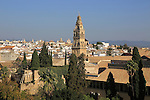 View of historic city centre and belfry bell tower, Toree del Laminar, Grand Mosque, Cordoba, Spain