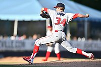 Lakewood BlueClaws starting pitcher Kevin Gowdy (34) delivers a pitch during a game against the Asheville Tourists at McCormick Field on June 14, 2019 in Asheville, North Carolina. The BlueClaws defeated the Tourists 7-5. (Tony Farlow/Four Seam Images)